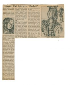 "newspaper article ""Dali interprets Macbeth"""