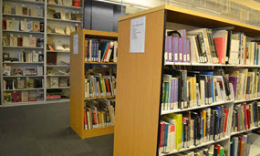 Image of the library shelves at The Dali Museum Library