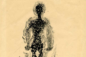 Detail of drawing Figure in Flames