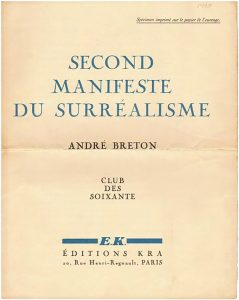 Andre Breton's front cover of The Second Surrealist Manifesto